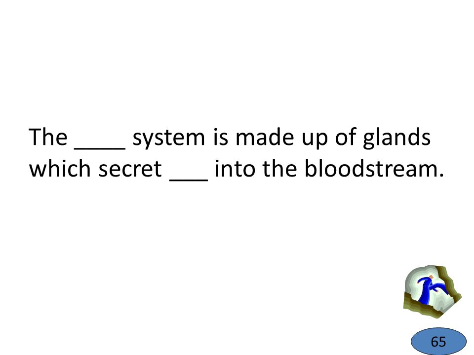 The ____ system is made up of glands which secret ___ into the bloodstream. 65