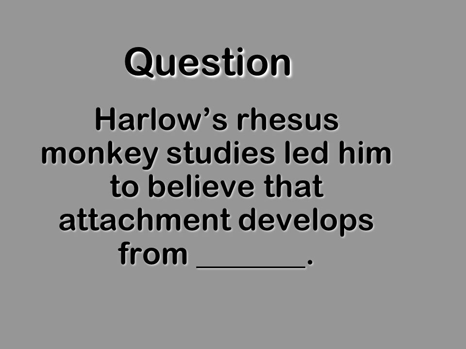 QuestionQuestion Harlows rhesus monkey studies led him to believe that attachment develops from _______.