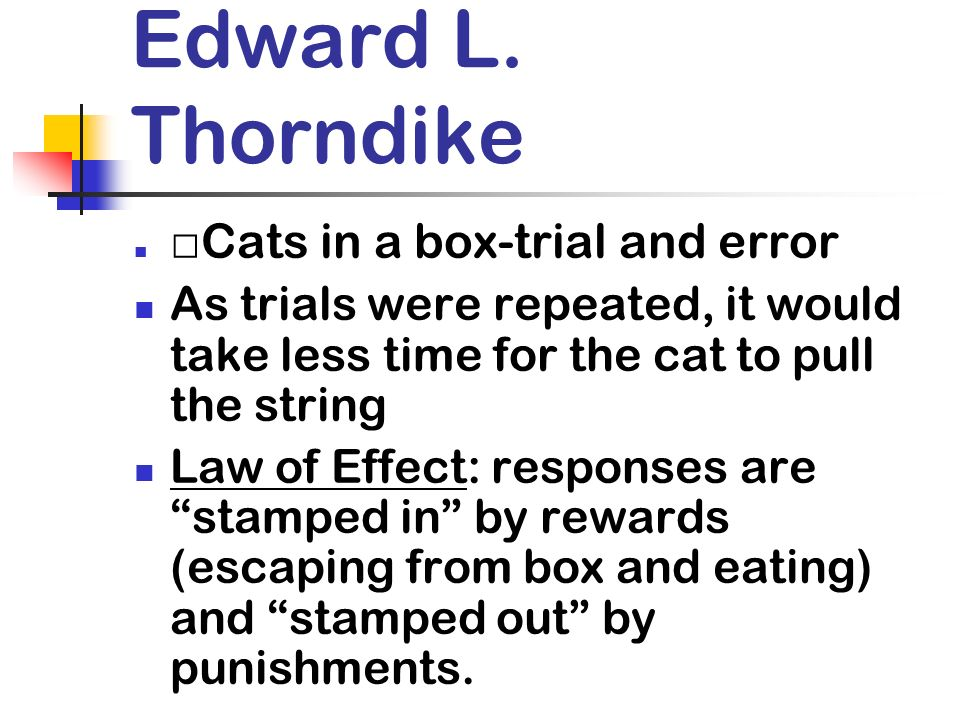 Edward L. Thorndike Cats in a box-trial and error As trials were repeated, it would take less time for the cat to pull the string Law of Effect: respo