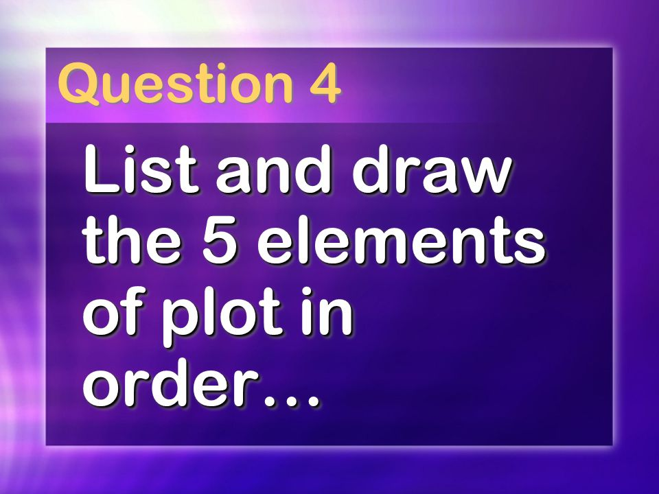Question 4 List and draw the 5 elements of plot in order…