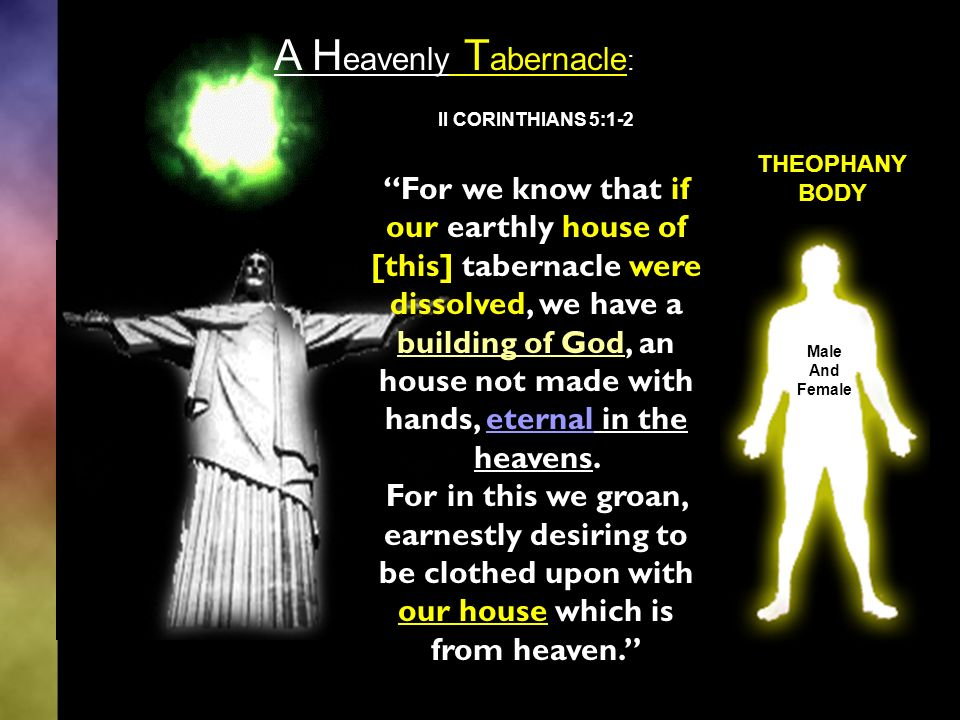 II CORINTHIANS 5:1-2 For we know that if our earthly house of [this] tabernacle were dissolved, we have a building of God, an house not made with hands, eternal in the heavens.