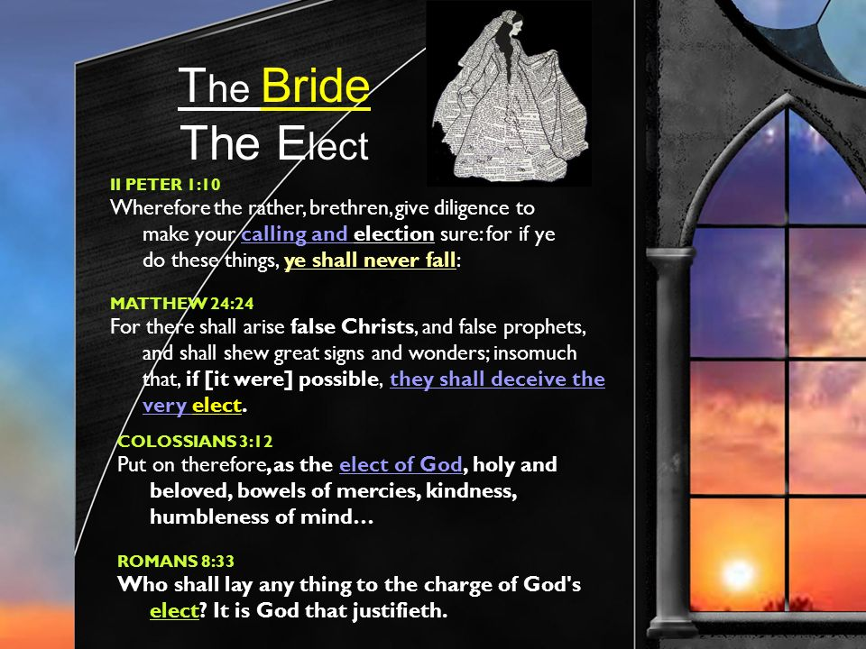 T he Bride The E lect II PETER 1:10 Wherefore the rather, brethren, give diligence to make your calling and election sure: for if ye do these things, ye shall never fall: MATTHEW 24:24 For there shall arise false Christs, and false prophets, and shall shew great signs and wonders; insomuch that, if [it were] possible, they shall deceive the very elect.