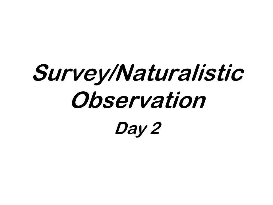 Survey/Naturalistic Observation Day 2