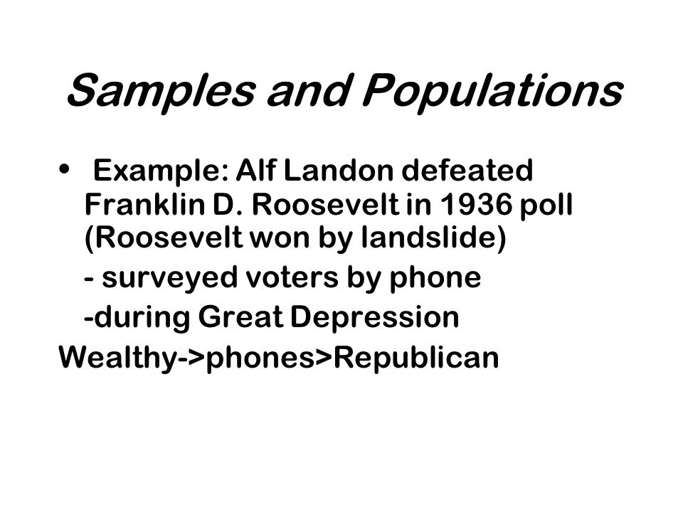 Samples and Populations Example: Alf Landon defeated Franklin D.
