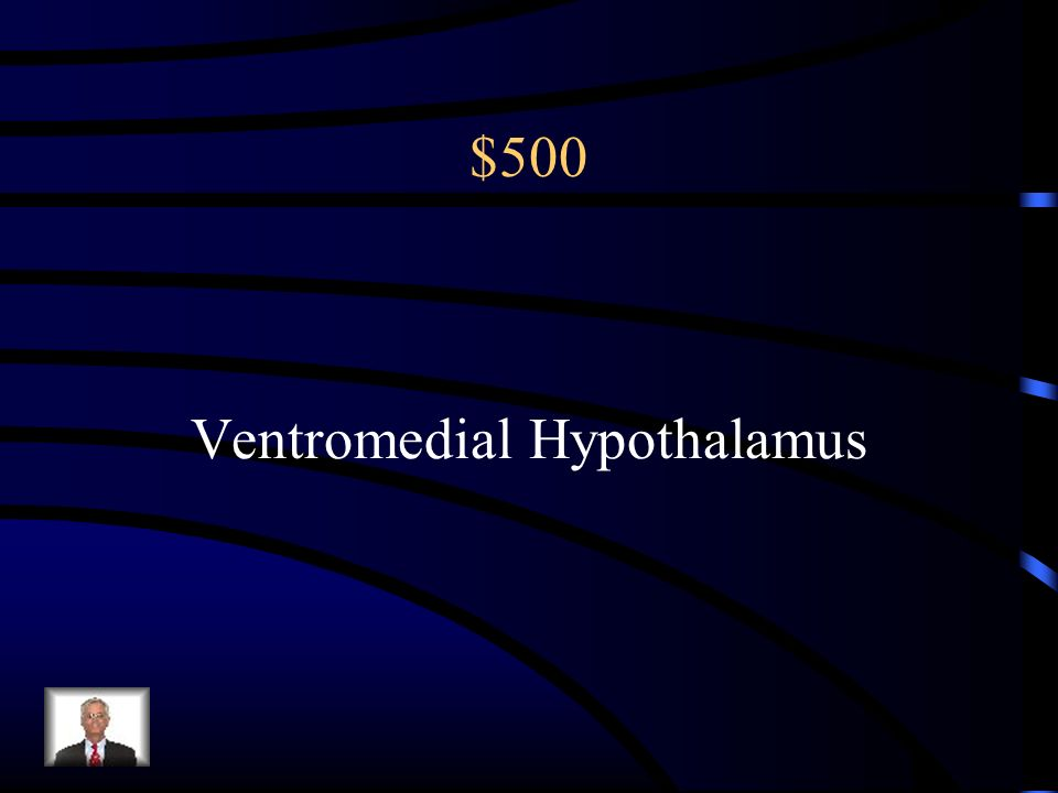 $500 A lesion near this part of the hypothalamus would cause a person to overeat.