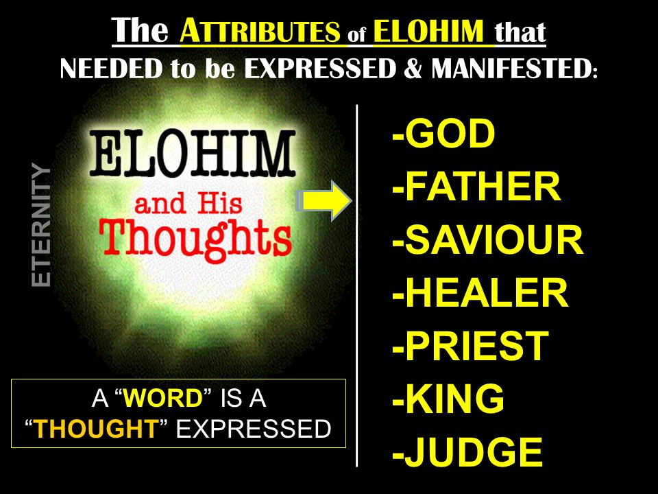 The A TTRIBUTES of ELOHIM that NEEDED to be EXPRESSED & MANIFESTED : -GOD -FATHER -SAVIOUR -HEALER -PRIEST -KING -JUDGE A WORD IS ATHOUGHT EXPRESSED E