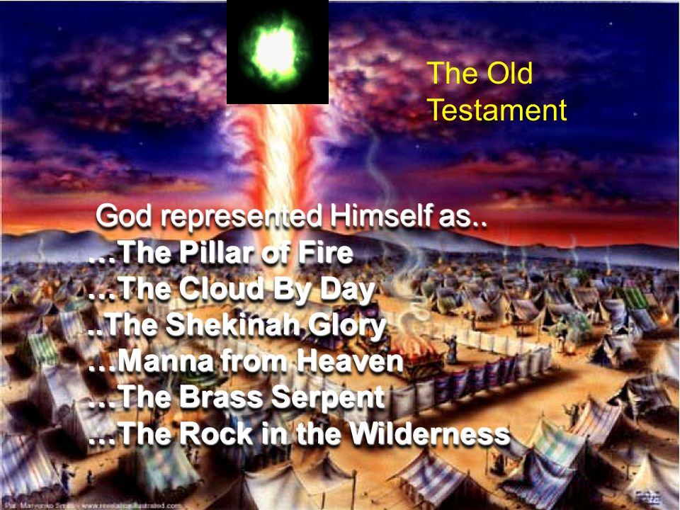 God represented Himself as.. God represented Himself as.. …The Pillar of Fire …The Cloud By Day..The Shekinah Glory …Manna from Heaven …The Brass Serp