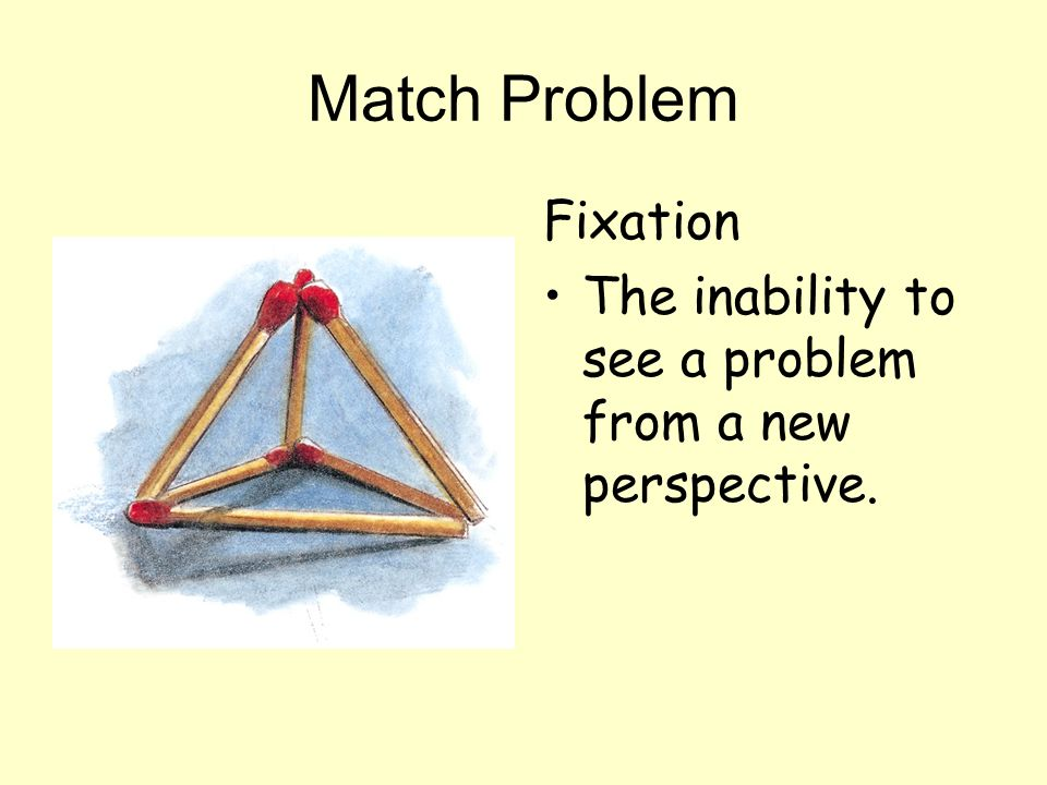 Match Problem Fixation The inability to see a problem from a new perspective.