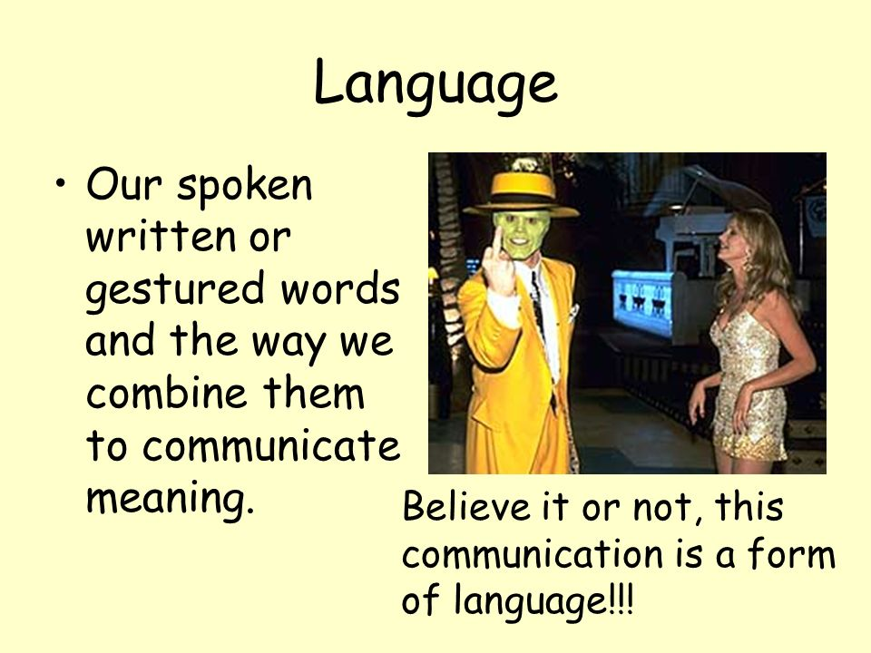 Language Our spoken written or gestured words and the way we combine them to communicate meaning. Believe it or not, this communication is a form of l