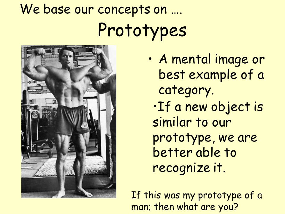 Prototypes A mental image or best example of a category. We base our concepts on …. If a new object is similar to our prototype, we are better able to