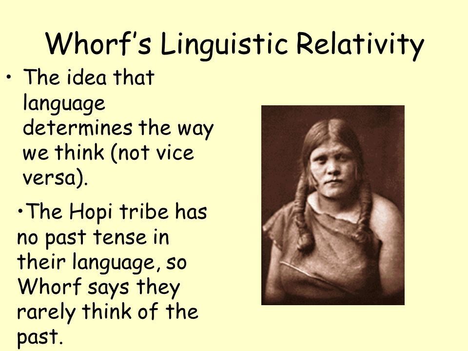 Whorfs Linguistic Relativity The idea that language determines the way we think (not vice versa). The Hopi tribe has no past tense in their language,