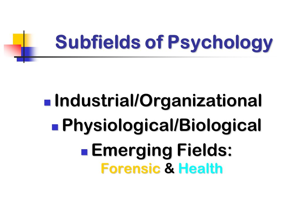 Subfields of Psychology Industrial/Organizational Industrial/Organizational Physiological/Biological Physiological/Biological Emerging Fields: Forensic & Health Emerging Fields: Forensic & Health