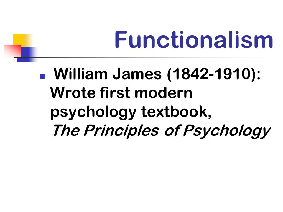 Functionalism William James (1842-1910): Wrote first modern psychology textbook, The Principles of Psychology