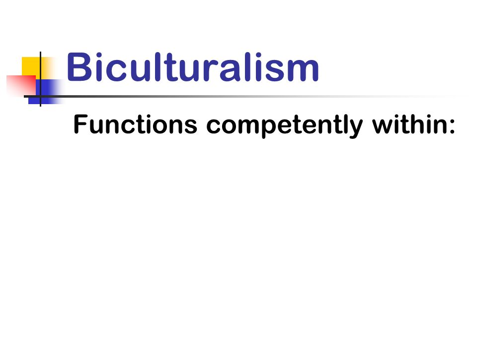 Biculturalism Functions competently within: