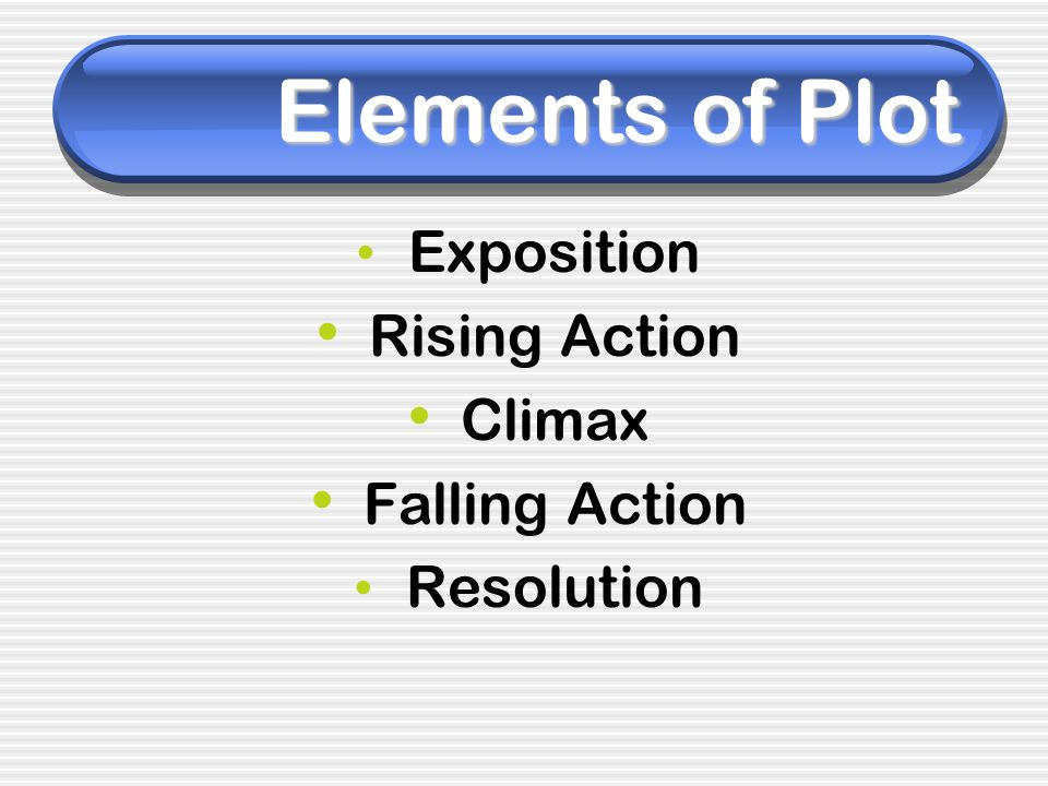 Elements of Plot Exposition Rising Action Climax Falling Action Resolution