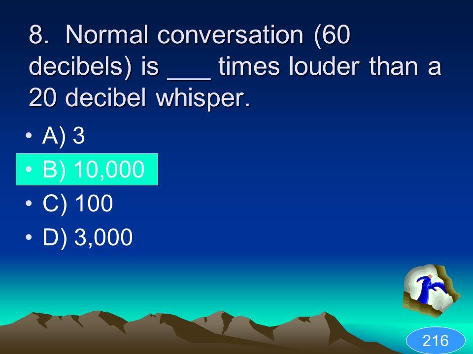 8. Normal conversation (60 decibels) is ___ times louder than a 20 decibel whisper. A) 3 B) 10,000 C) 100 D) 3,000 216
