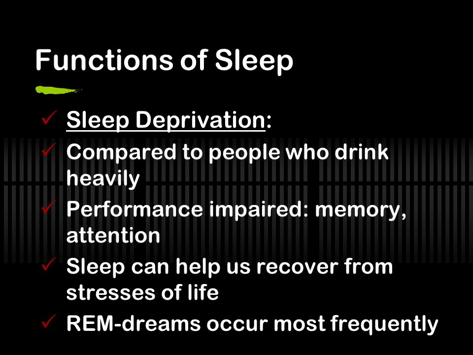 Functions of Sleep Sleep Deprivation: Compared to people who drink heavily Performance impaired: memory, attention Sleep can help us recover from stresses of life REM-dreams occur most frequently