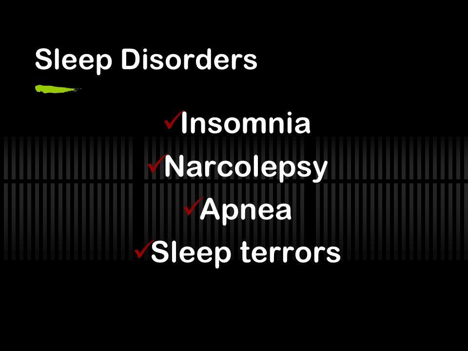 Sleep Disorders Insomnia Narcolepsy Apnea Sleep terrors