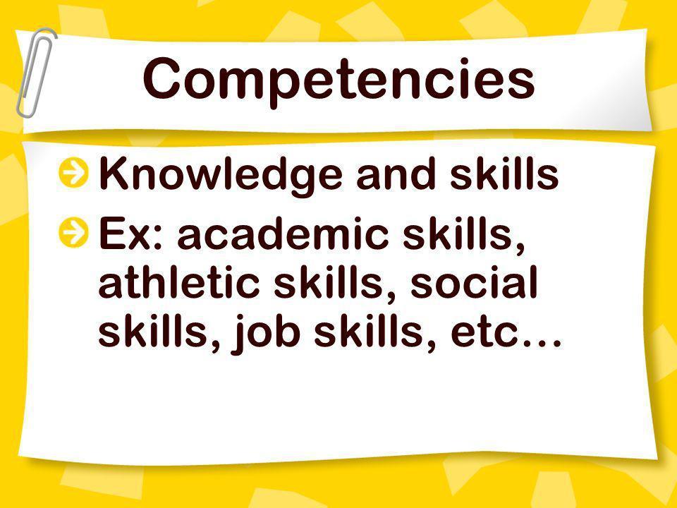 Competencies Knowledge and skills Ex: academic skills, athletic skills, social skills, job skills, etc…