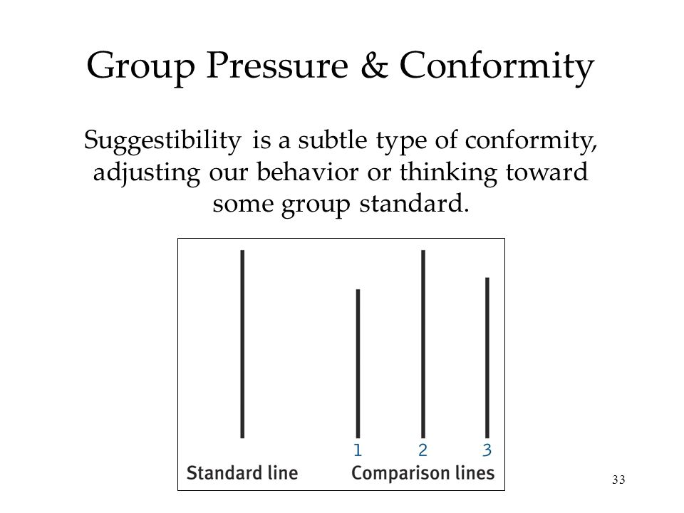 33 Group Pressure & Conformity Suggestibility is a subtle type of conformity, adjusting our behavior or thinking toward some group standard.