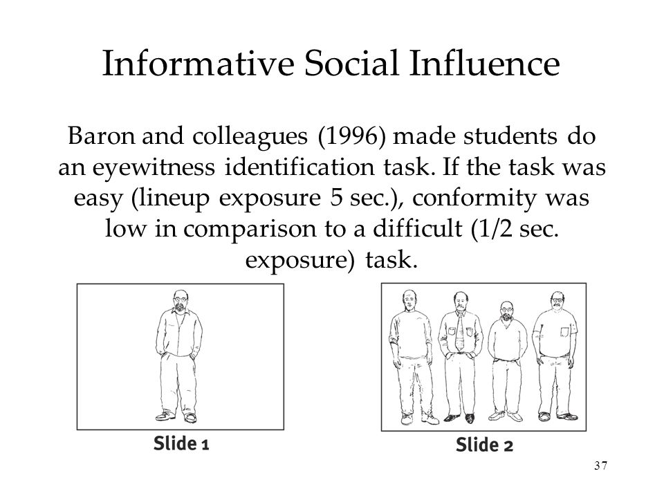 37 Informative Social Influence Baron and colleagues (1996) made students do an eyewitness identification task. If the task was easy (lineup exposure