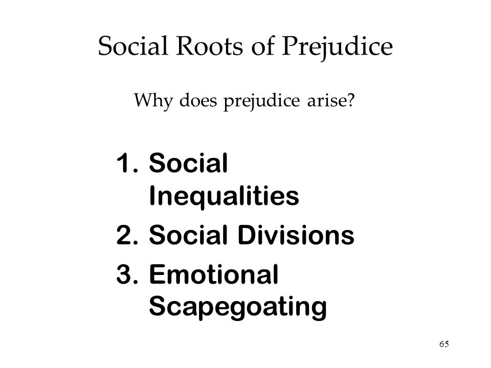 65 Social Roots of Prejudice Why does prejudice arise? 1.Social Inequalities 2.Social Divisions 3.Emotional Scapegoating