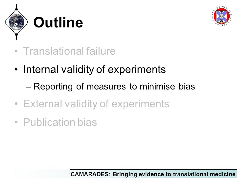 CAMARADES: Bringing evidence to translational medicine Outline Translational failure Internal validity of experiments –Reporting of measures to minimise bias External validity of experiments Publication bias