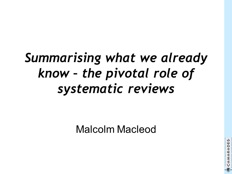 Is there an agreed and accepted definition of systematic reviews.