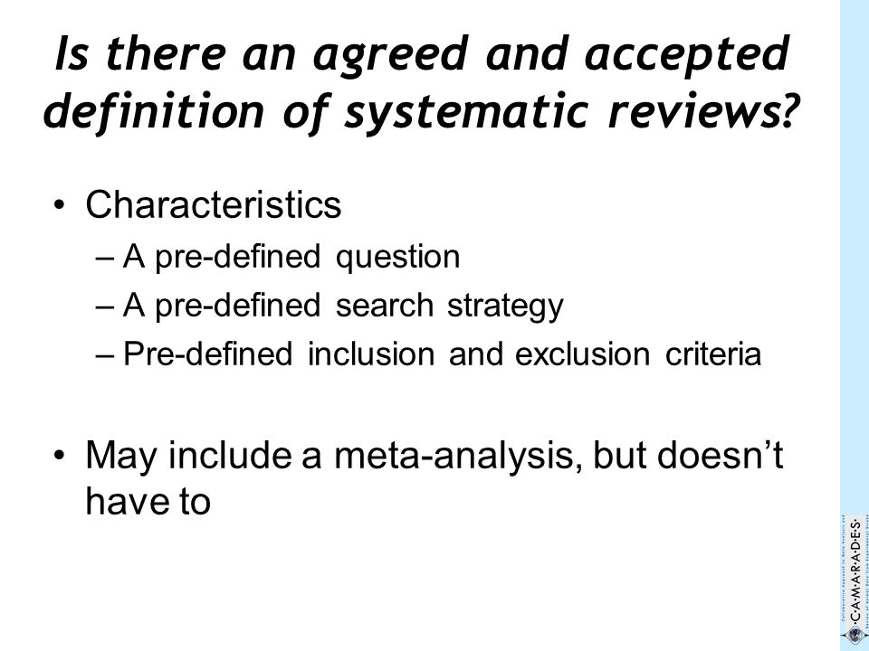 [Are systematic reviews only about the application of a methodology (bias-reducing principles), or do systematic reviews require a clearly defined topic and specific question, as well as rigorous inclusion and exclusion criteria?]