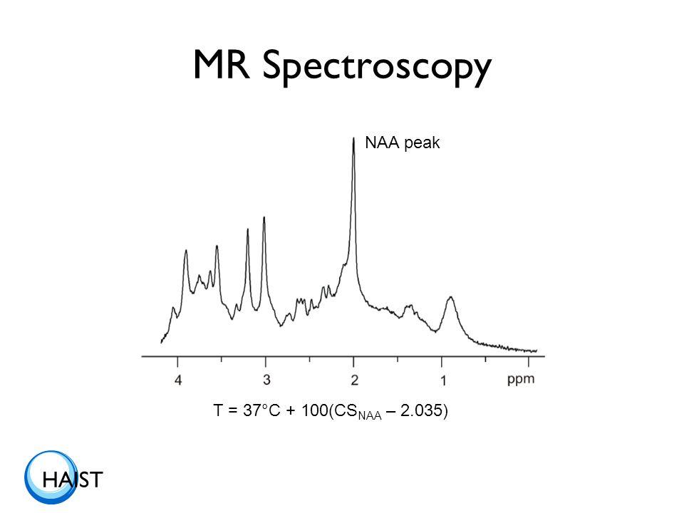 HAIST MR Spectroscopy NAA peak T = 37°C + 100(CS NAA – 2.035)