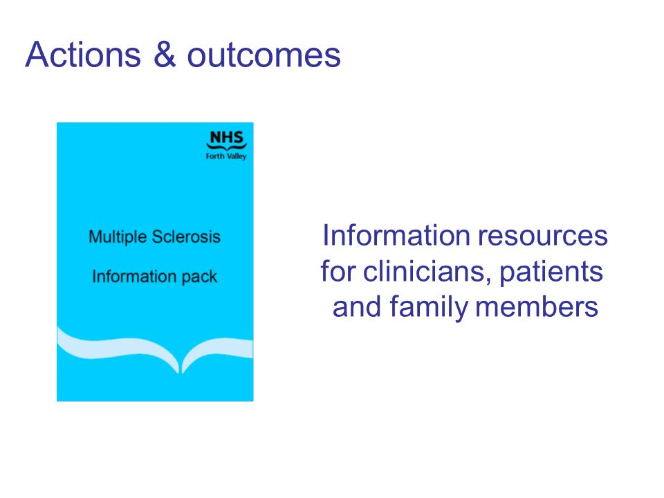 Actions & outcomes Information resources for clinicians, patients and family members