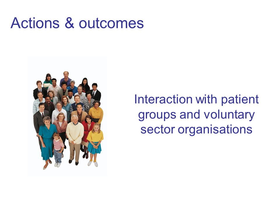 Actions & outcomes Interaction with patient groups and voluntary sector organisations
