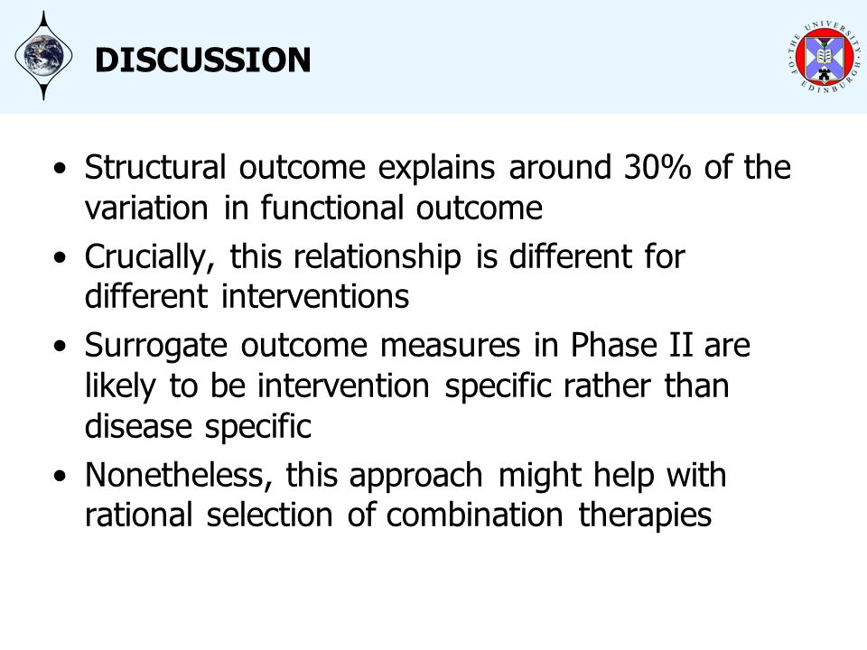 DISCUSSION Structural outcome explains around 30% of the variation in functional outcome Crucially, this relationship is different for different interventions Surrogate outcome measures in Phase II are likely to be intervention specific rather than disease specific Nonetheless, this approach might help with rational selection of combination therapies