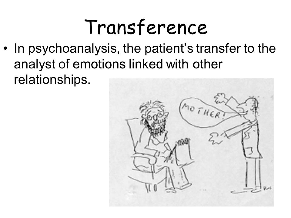 Transference In psychoanalysis, the patients transfer to the analyst of emotions linked with other relationships.