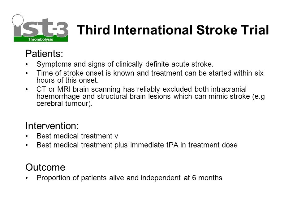 Third International Stroke Trial Patients: Symptoms and signs of clinically definite acute stroke.