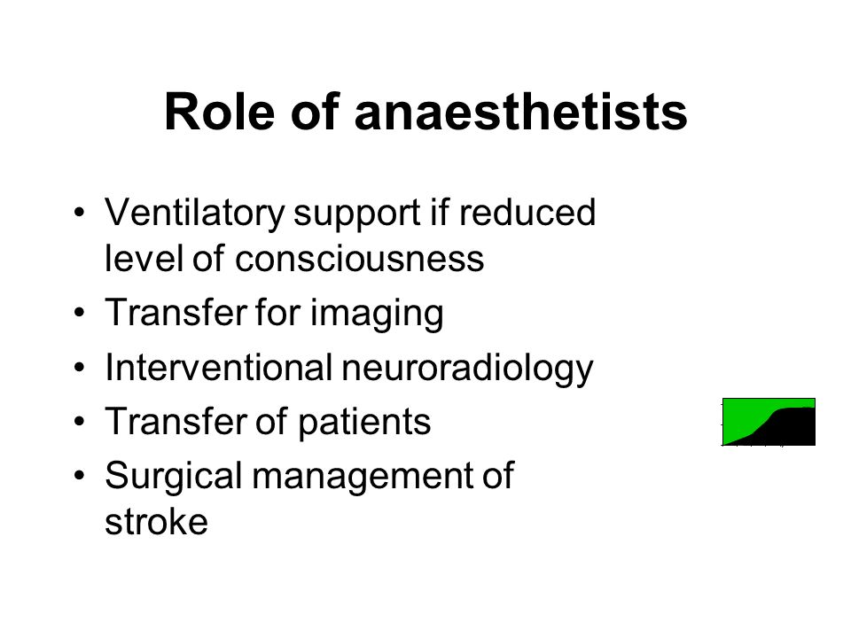 Role of anaesthetists Ventilatory support if reduced level of consciousness Transfer for imaging Interventional neuroradiology Transfer of patients Surgical management of stroke