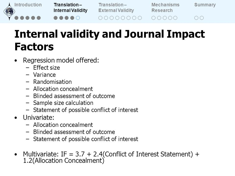 Internal validity and Journal Impact Factors Regression model offered: –Effect size –Variance –Randomisation –Allocation concealment –Blinded assessme