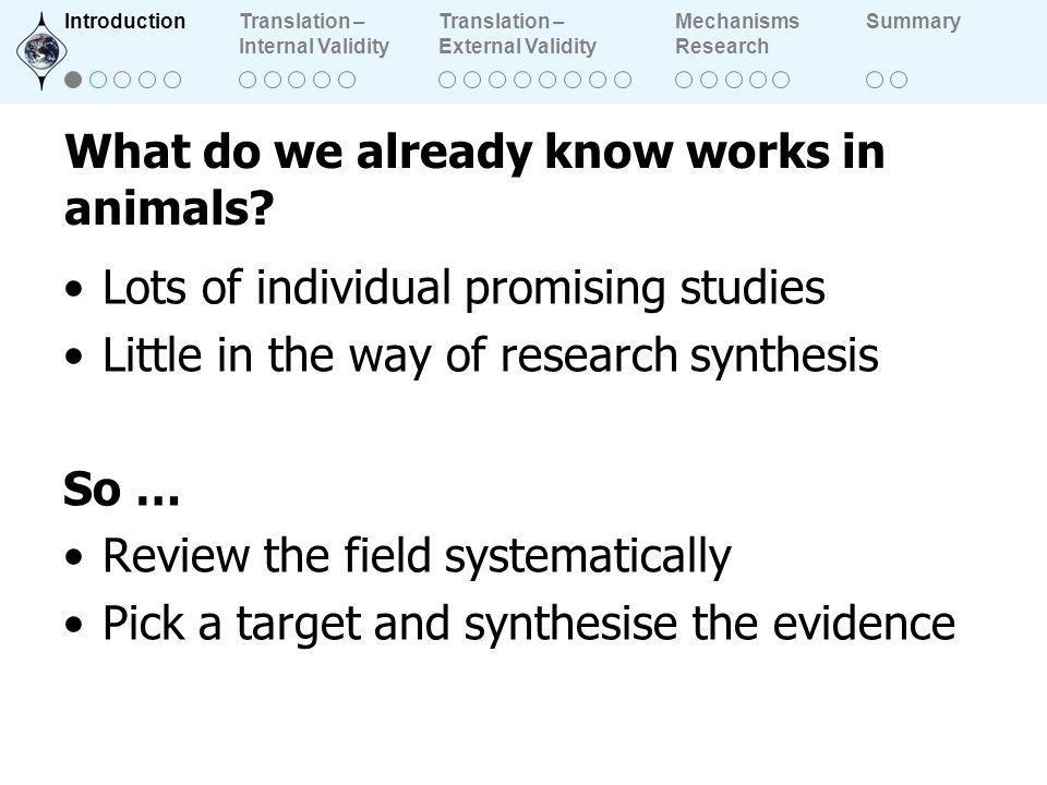 What do we already know works in animals? Lots of individual promising studies Little in the way of research synthesis So … Review the field systemati