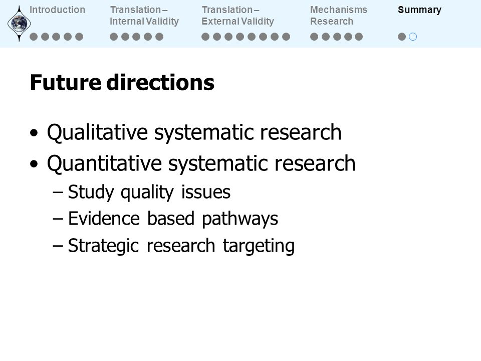 Future directions Qualitative systematic research Quantitative systematic research –Study quality issues –Evidence based pathways –Strategic research targeting IntroductionTranslation – Internal Validity Translation – External Validity Mechanisms Research Summary