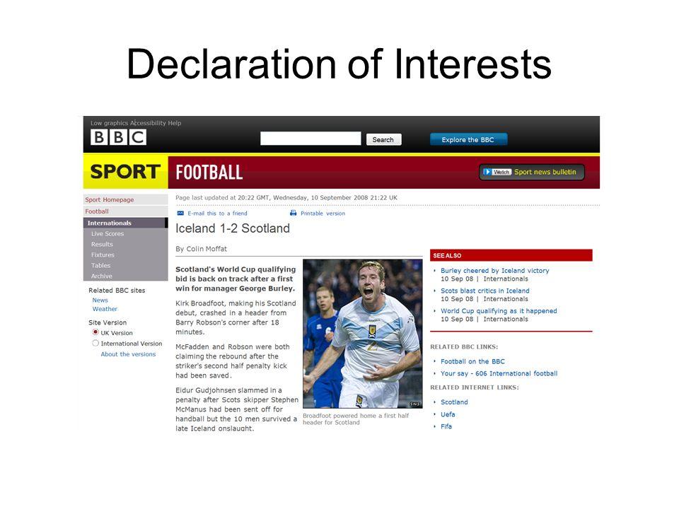 Declaration of Interests