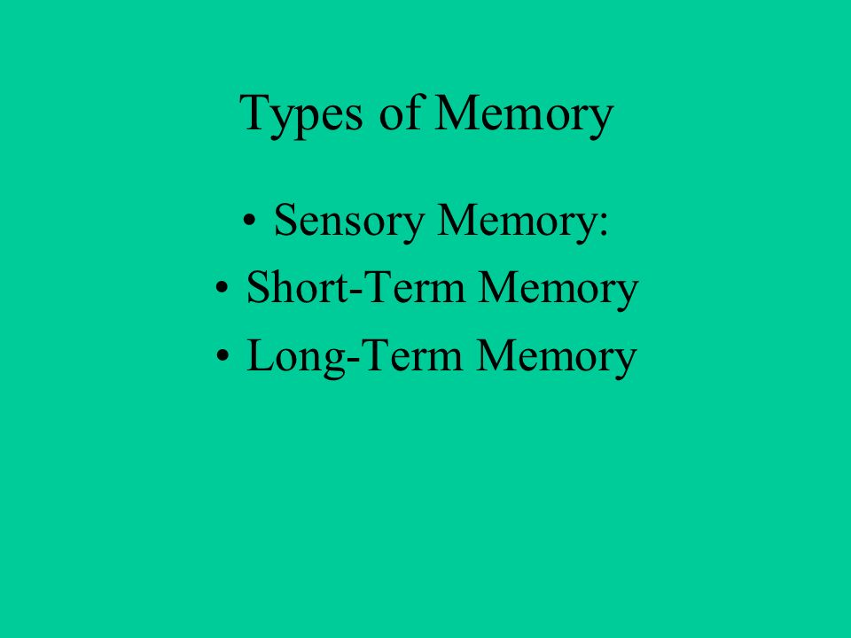 Types of Memory Sensory Memory: Short-Term Memory Long-Term Memory