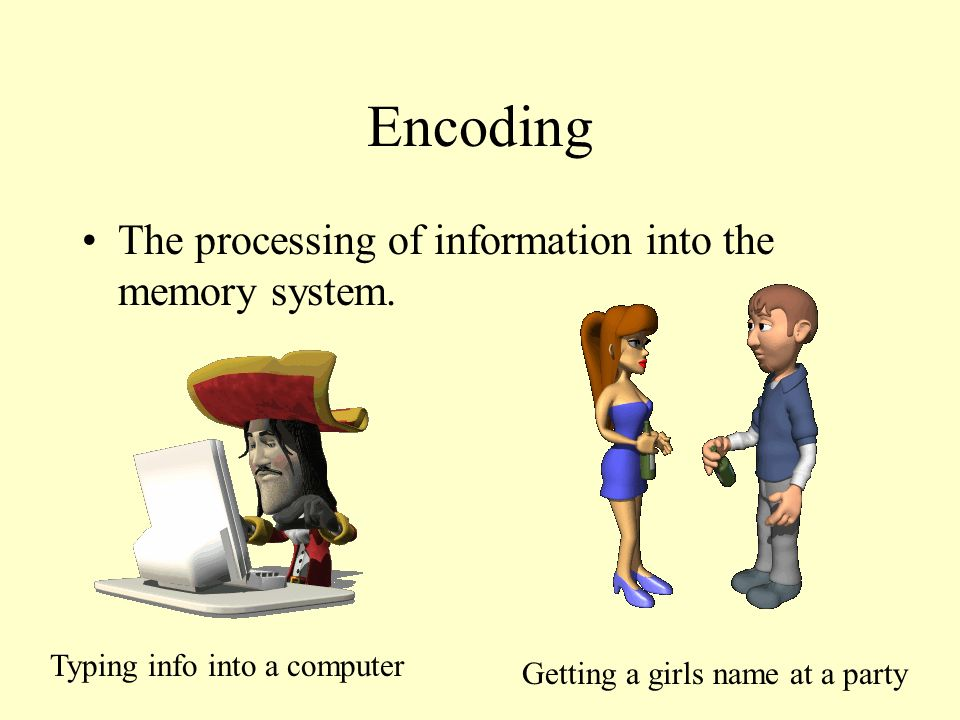Encoding The processing of information into the memory system. Typing info into a computer Getting a girls name at a party