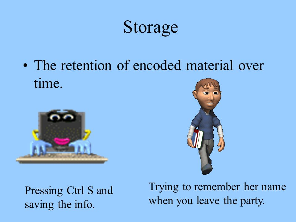 Storage The retention of encoded material over time. Pressing Ctrl S and saving the info. Trying to remember her name when you leave the party.