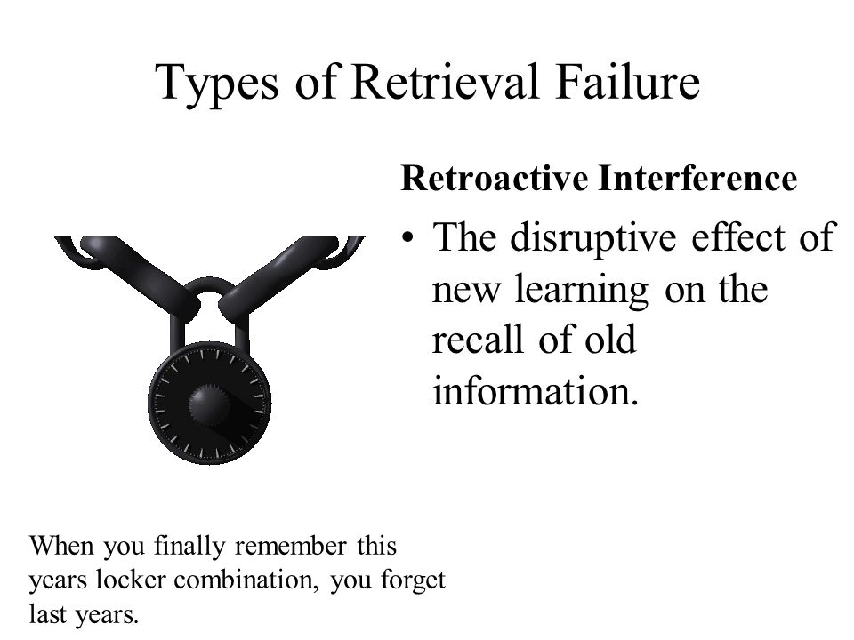 Types of Retrieval Failure Retroactive Interference The disruptive effect of new learning on the recall of old information. When you finally remember