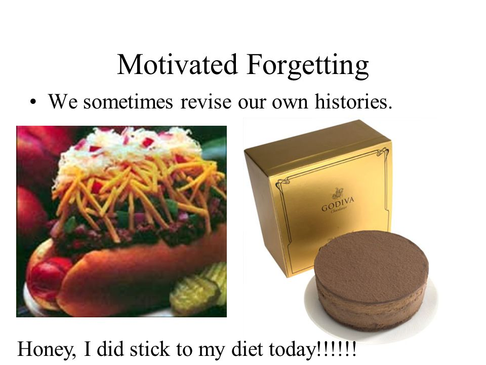 Motivated Forgetting We sometimes revise our own histories. Honey, I did stick to my diet today!!!!!!