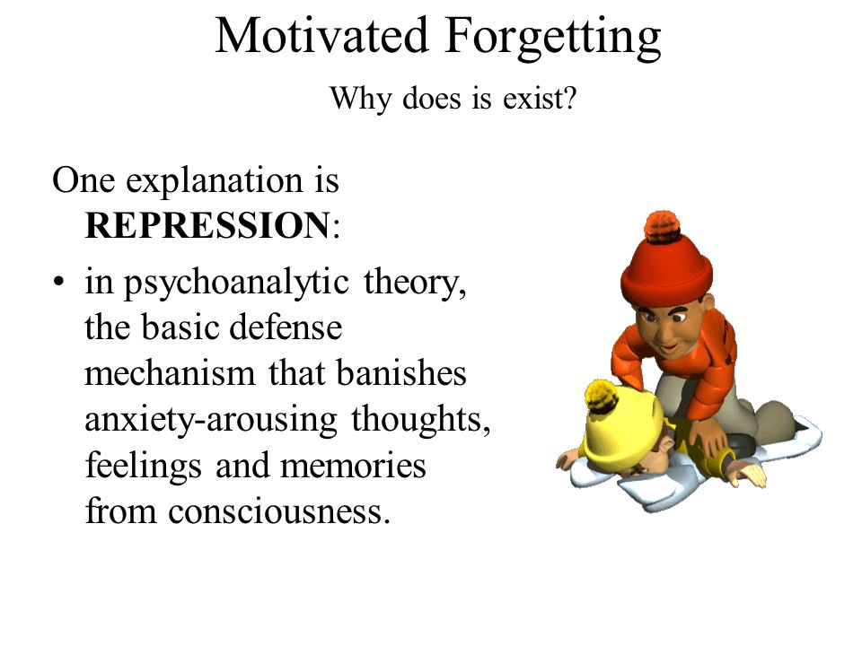Motivated Forgetting One explanation is REPRESSION: in psychoanalytic theory, the basic defense mechanism that banishes anxiety-arousing thoughts, fee