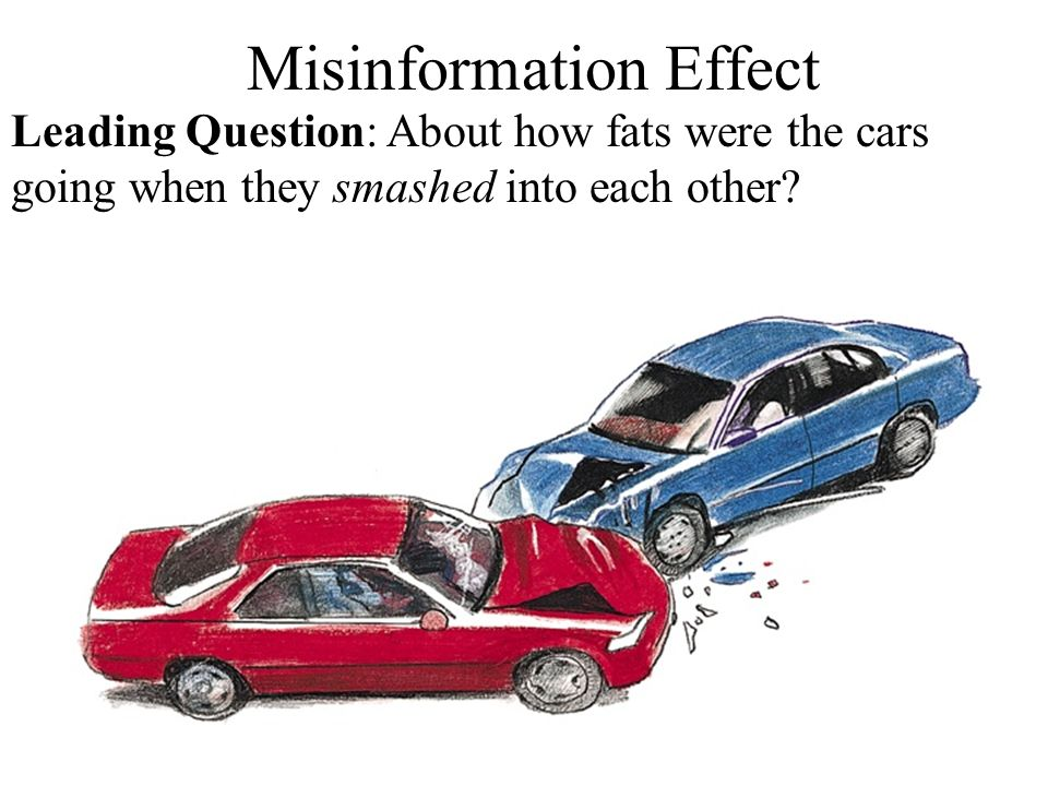 Misinformation Effect Leading Question: About how fats were the cars going when they smashed into each other?