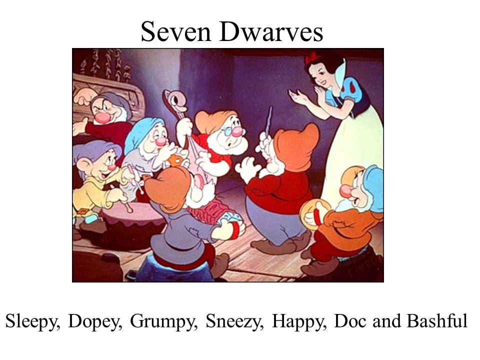 Seven Dwarves Sleepy, Dopey, Grumpy, Sneezy, Happy, Doc and Bashful