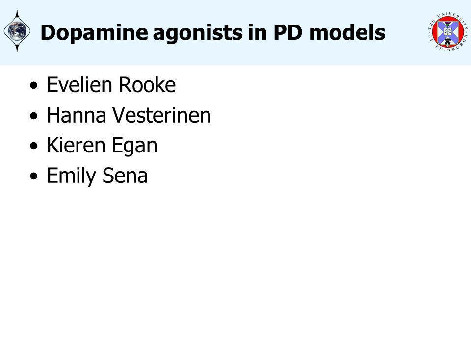 Dopamine agonists in PD models Evelien Rooke Hanna Vesterinen Kieren Egan Emily Sena