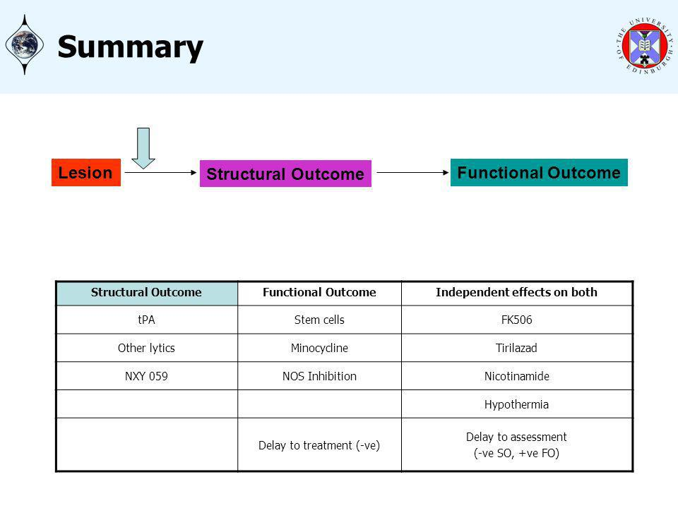 Summary Structural OutcomeFunctional OutcomeIndependent effects on both tPAStem cellsFK506 Other lyticsMinocyclineTirilazad NXY 059NOS InhibitionNicotinamide Hypothermia Delay to treatment (-ve) Delay to assessment (-ve SO, +ve FO) Lesion Structural Outcome Functional Outcome